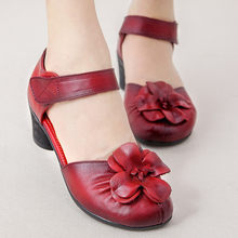 women shoes 2018 summer new fashion genuine leather high heels Women Pumps woman handmade flower casual comfortable sandals(China)