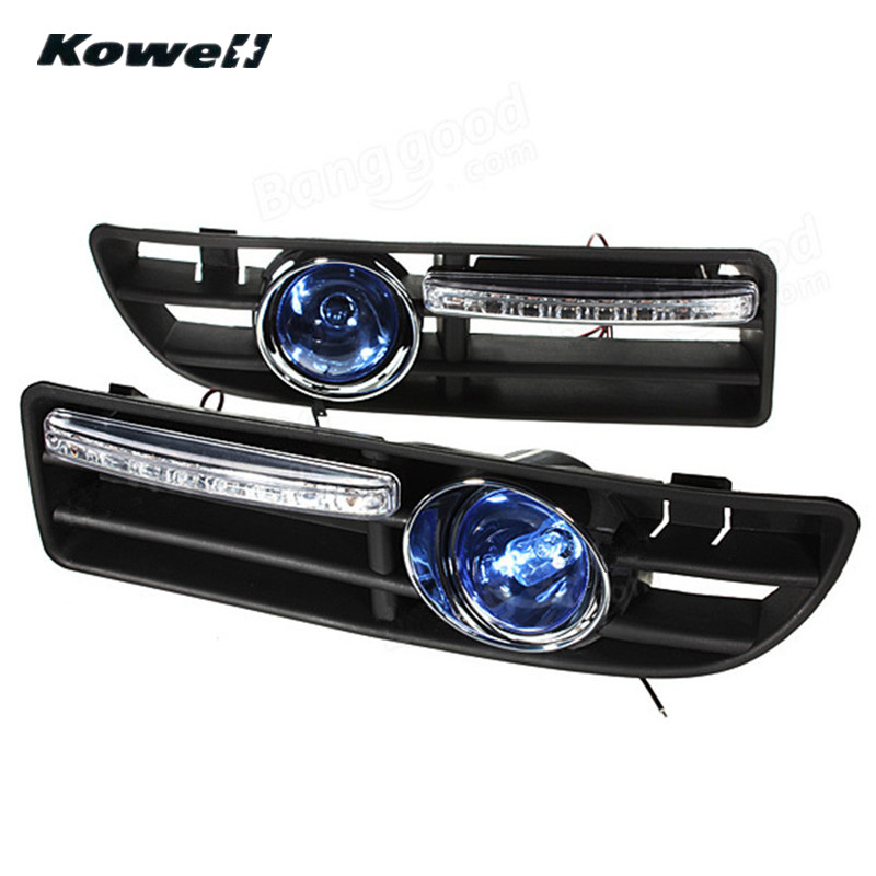 KOWELL Fog Lights Grille For Volkswagen VW Golf JETTA BORA MK4 1999-2004 +Switch +Wiring Harness Bumper Car Lamps LED Bulbs special laser rear fog lamp for volkswagen vw jetta mk4 bora a4 1j 1999 2006 waterproof car tail collision warning light