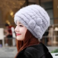 Glaforny 2018 Genuine Mink Fur Hat Flowers decorate Knitted Beanies Fashion Women Fur Caps Russian Winter Women Warm Fur Hats