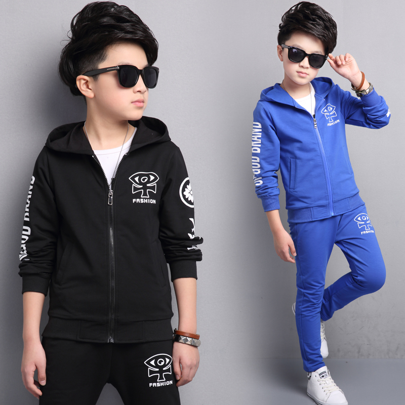 ФОТО new  2017 spring children's clothing boys Outdoor sports clothes coat + vest + pants 3 sets 5 6 8 10 12 14 16 year boy clothes