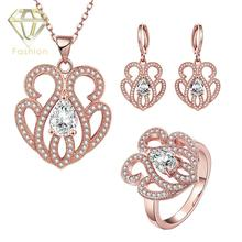 Cute Butterfly Pattern Shaped /Rose Gold Plated Necklace+Earrings+Ring Jewelry Set