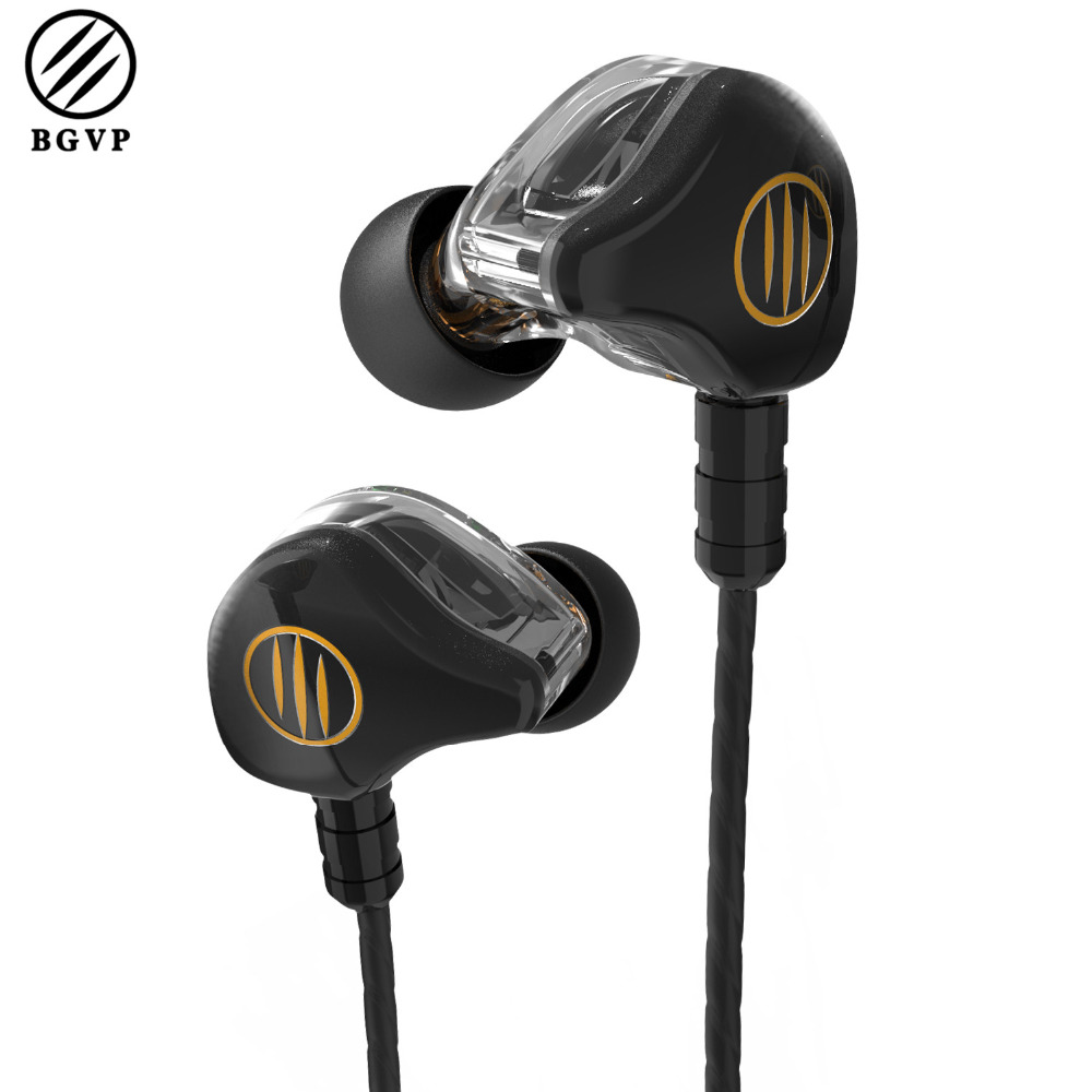 BGVP DS1 New Hybrid Earphone 3.5mm MMCX HiFi Earphones Dual Balanced Armature 3 Unit Earphones OCC Metal Headset for IOS Android