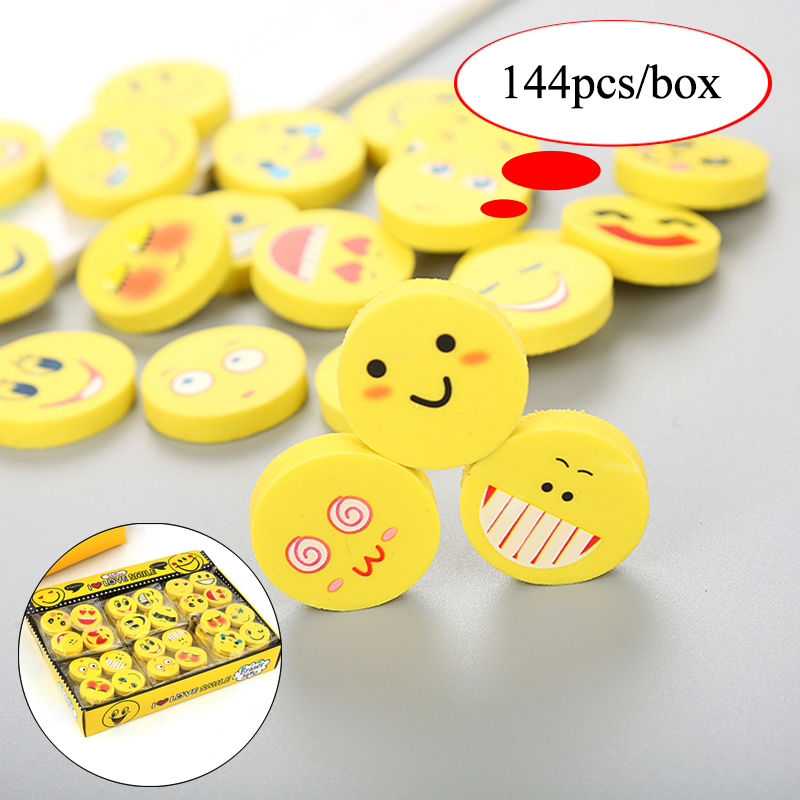 144pcs/lot Cartoon Smiley Face Eraser Creative Stationery Cute Emotions Rubber Erasers Gift For The Children