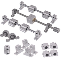 Horizontal Silver Dual Rail Guide Support 25/30/35/40/45/50cm Length Optical Axis & 250mm 2mm T8 Lead Screw Set