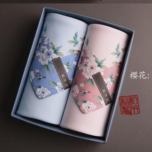 100% Cotton Cherry Blossoms Woman Cotton Handkerchief Hot Sale Floral Handkerchief 16 Style