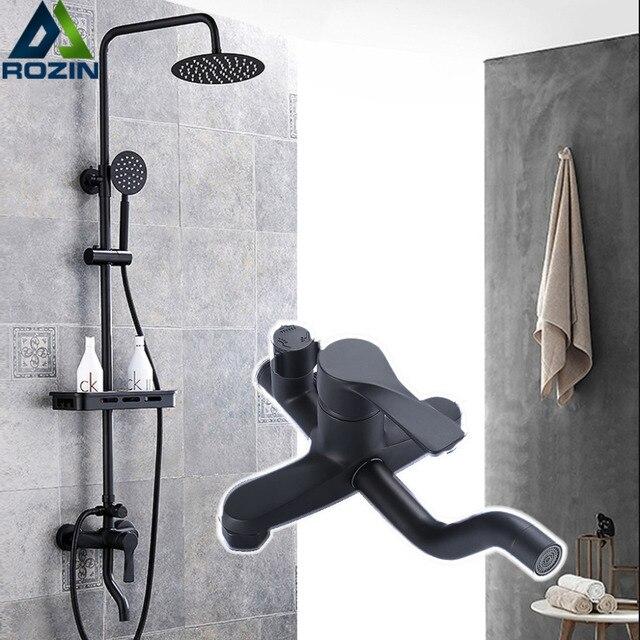 Czarny Matowy Prysznic Kran łazienka Prysznic Mixer Tap Z Półki 8