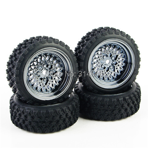 4 Pcs Set Remote Control Toy Car Rubber Tires Wheel Rim For RC 1 10 Rally