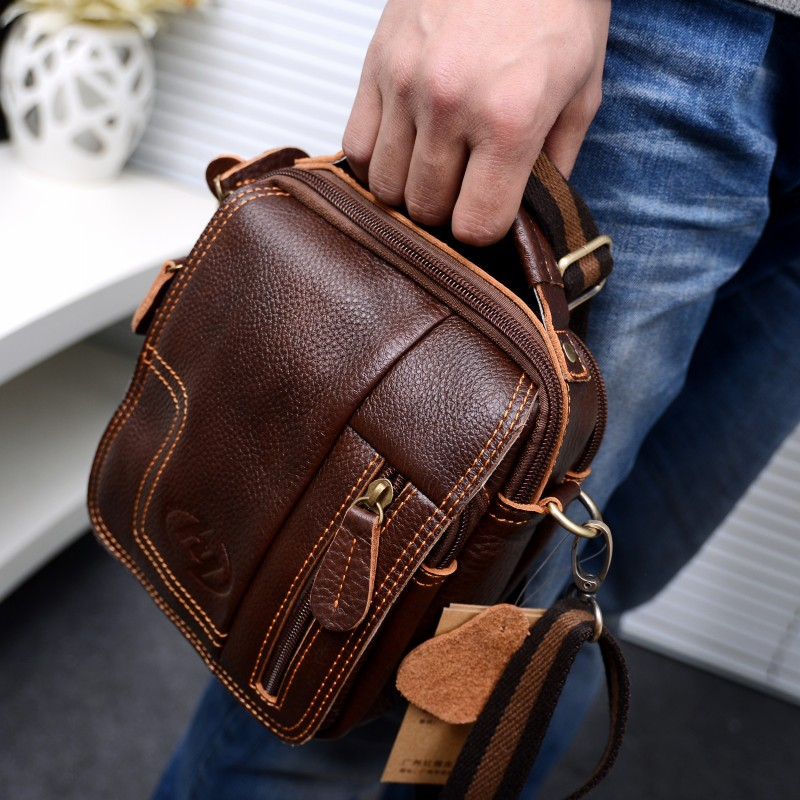c6b0c9f50529 men's Genuine Leather Vintage Shoulder Messenger Bag male Casual  multifunction Small Crossbody Flap hangbag man Messenger Bags