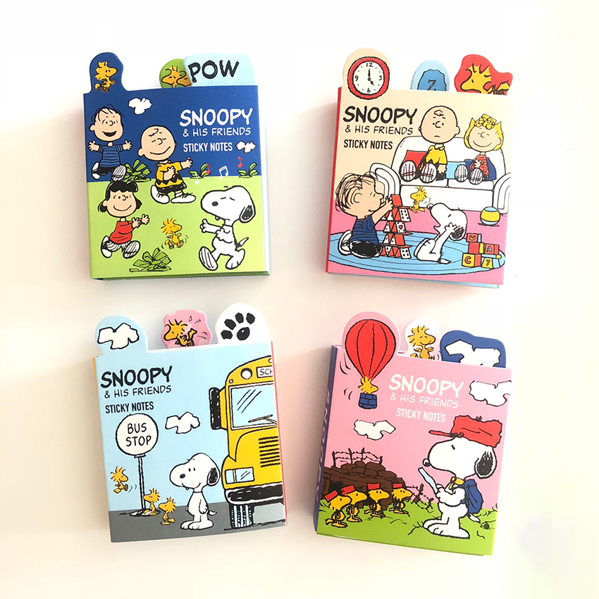 6-folding Cute Cartoon Snoppy Memo Pad Sticky Notes Kids Stationery Planner Pocket Notepad Office Supplies Write Message Paper