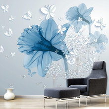 Modern Abstract Art Mural Wallpaper 3D Stereo Blue Flowers Butterfly Photo Wall Painting Living Room Creative Home Decor Fresco(China)