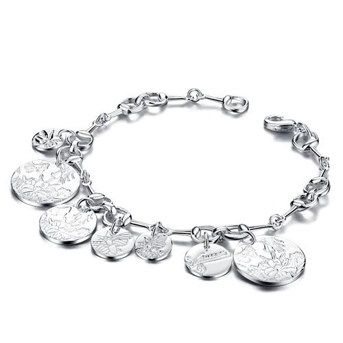Nova moda jóias 925 prata sino pulseira , 925 pure jóias de prata , nobre e elegante de alta qualidade