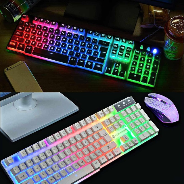 LED Rainbow Backlight USB Ergonomic Wired Gaming Keyboard + 2400DPI Mouse + Mouse Pad Set Kit for PC Laptop Computer Gamer 4