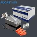 AUCAS Alta Qualidade 3 pcs terno escudo FTP CAT7 conector RJ45 plug 1.45mm 8 P Conector de Rede rj45 Cat7