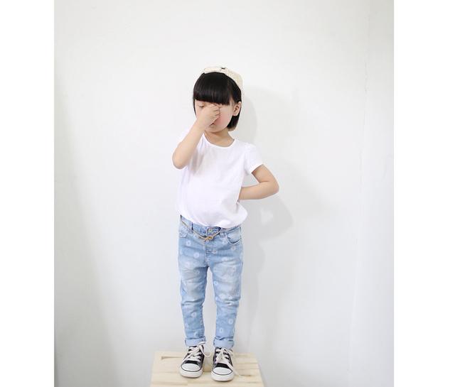 Chegam novas primavera outono Fashiong crianças jeans Z marca do bebê meninas magras calças jeans menina flor branca leggings calças
