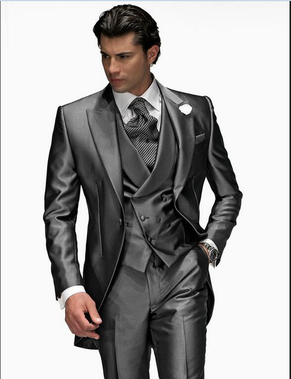 Men Suits 2015 Gray Groom Tailcoat Peaked Lapel One Button Best Man Suits For Wedding Groomsman Tuxedos (Jacket+Pants+Vest )