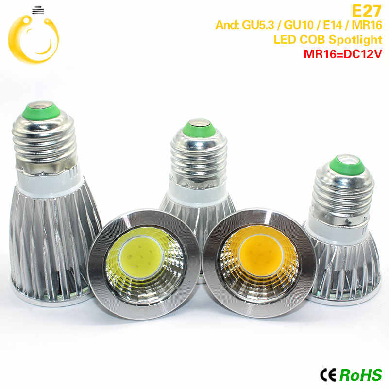 1pcs Super Bright 9W 12W 15W GU10 COB LED Bulb 110V 220V Dimmable Led Spotlights Warm/Cool White E27 GU10 LED lamp free shipping