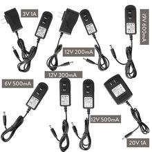 Dc 12v 3v 6v 19v 20v 1a 200ma 300ma 500ma 600ma us eu plug de energia transformador adaptador de fonte para luz de tira led entrada 100-240v