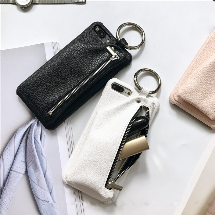 Fashion Litchi PU Leather Zipper Wallet Case for iPhone X 7 7plus for iPhone 6 6plus 6s 6splus 8 8Plus Lady style