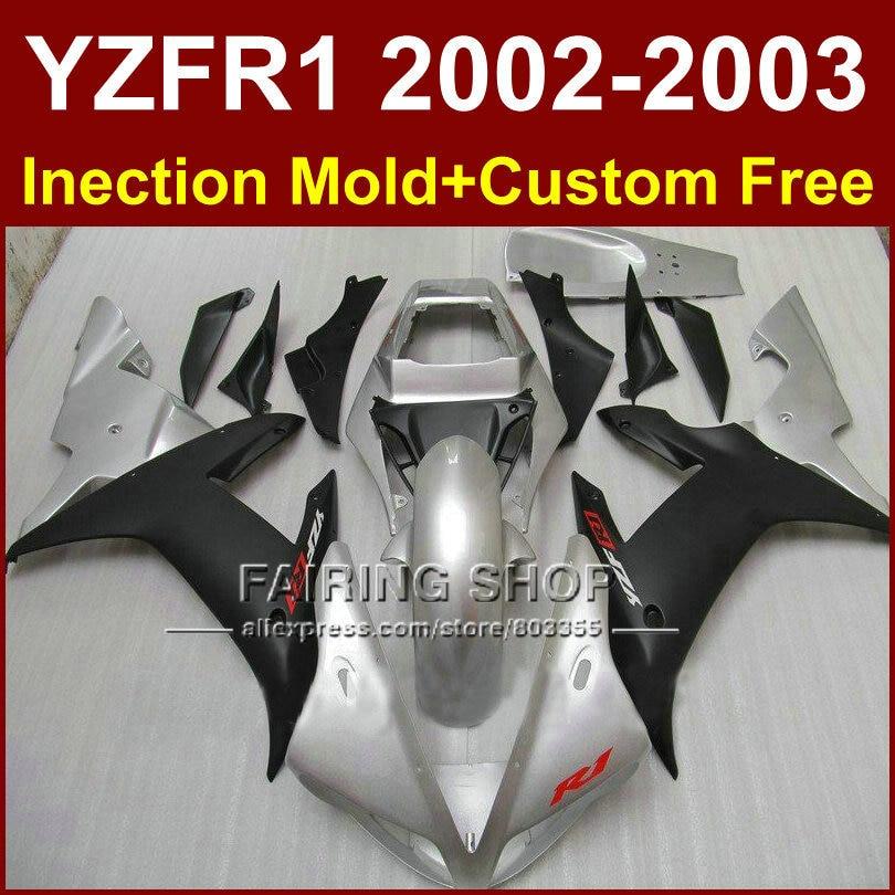 Silver black custom fairing for YAMAHA bodywork YZF1000 02 03 YZF R1 2002 2003 yzf r1  body parts Aftermarket +7gifts поршень 04 08 yzf1000 r1