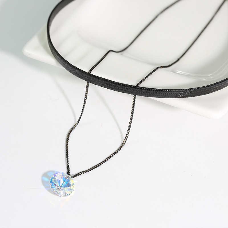 BAFFIN choker w stylu vintage kryształy swarovskiego elementy czarna skóra podwójny łańcuch naszyjniki dla kobiet Party 2018 Trendy biżuteria