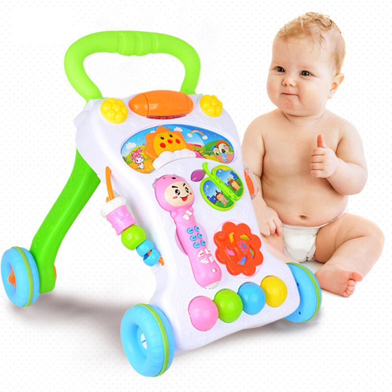 Baby Walker Multifunctional First Steps Car Anti-slip Wheel Handle Toddler Trolly Stroller Four Wheel Baby Educational Toys soft sole baby first walker leather shoes infant toddler footwear anti slip cotton cute baby shoes girls winter warm 70a1048