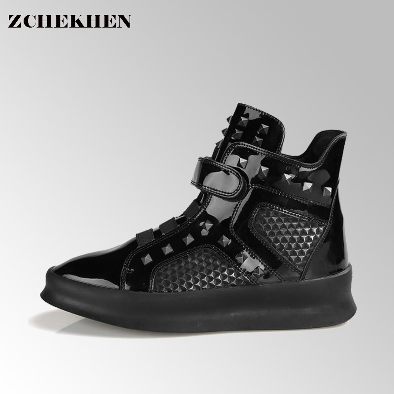 Luxury Brand Design Hip-hop Dancing Cool Laser Rivet Shoes Fashion Boots High Top Trainers Justin Kanye West Boots #43