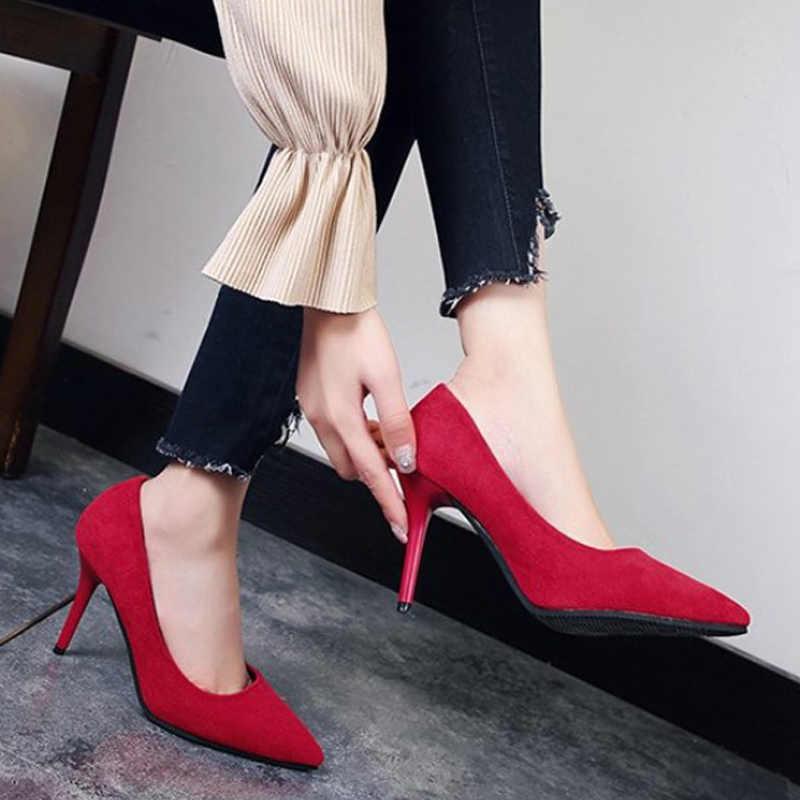 Delle donne di Alta Scarpe Tacco Flock Classici Scarpe Da Sera Tacco Sottile Superficiale Ufficio Femminile Slip-On Pompe di Moda Punta A Punta delle Signore di carriera