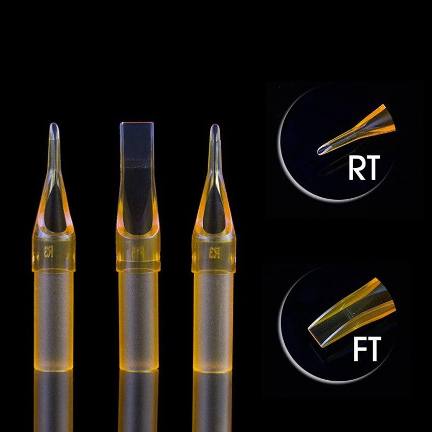 Tattoo Tips Plastic RT FT 50Pcs Round Flat Gold Shark Sterilized Disposable Nozzle Needles Tips For Tattoo Gun Machine Needles