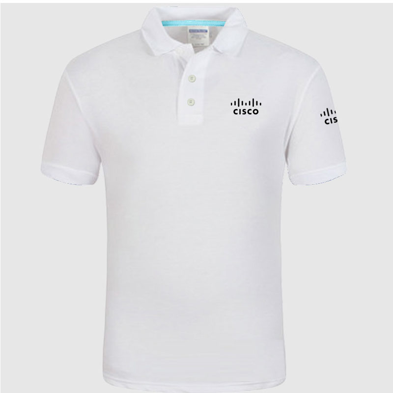 Summer Polo Shirt CISCO logo Brand Men's Fashion Cotton Short Sleeve Polo Shirts Solid Jersey Tops Tees