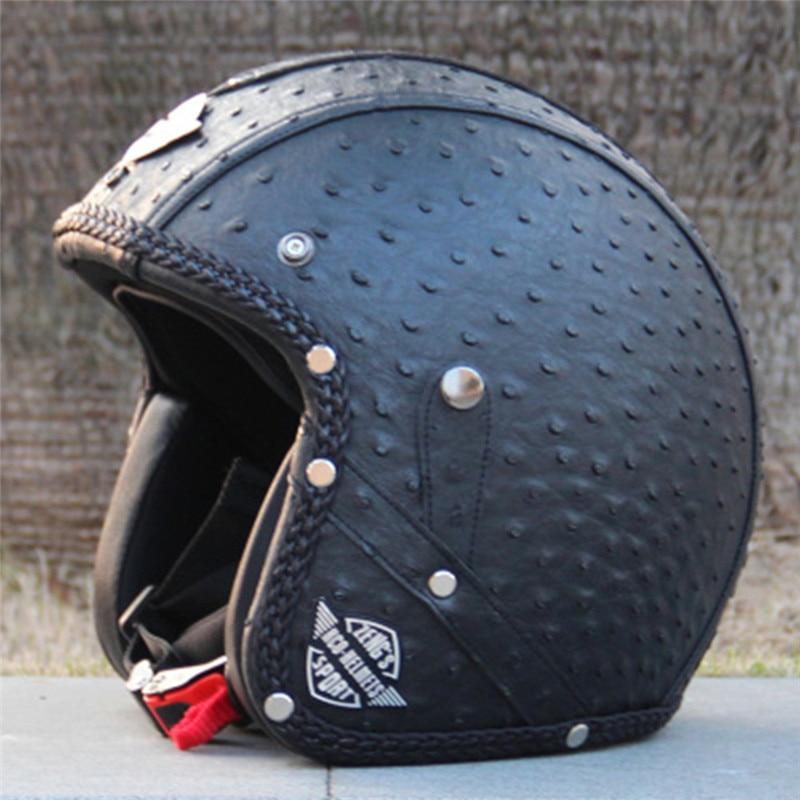 Vcoros Vintage leather motorcycle helmet open face motorbike helmet Retro harley style Scooter helmet Women Vespa Motos helmets