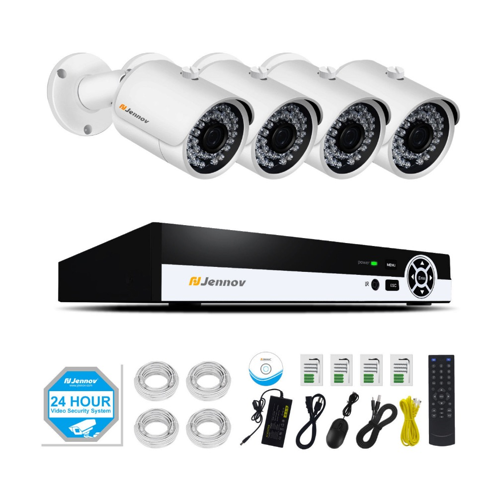 4CH POE 1080P 2MP Home Security Camera With Led Light Video Surveillance System Kit CCTV Set NVR ip Camera Outdoor ip Cam IR