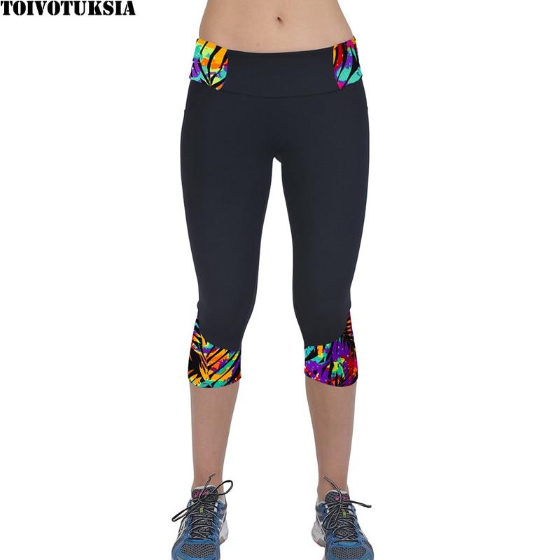 TOIVOTUKSIA Fekete rövid női leggings Női Leggin nyomtatott nő leggins ruhák (csak leggingset árulnak)