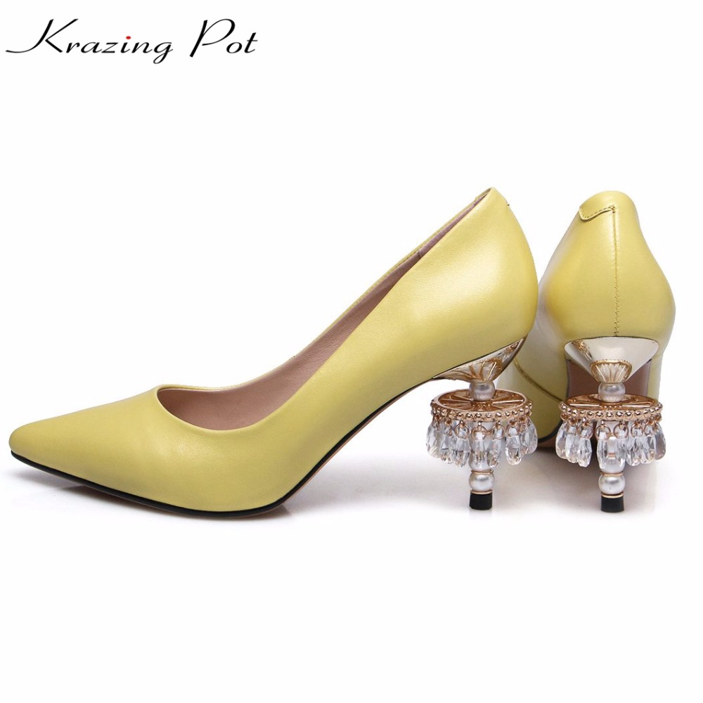 KRAZING POT genuine leather lamp heels crystal pearl original design high heels party luxury pointed toe wedding brand pumps L36 krazing pot shallow fashion brand shoes genuine leather slip on pointed toe preppy office lady thick high heels women pumps l18