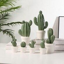 Modern Creative Ceramic Cactus Home Decorations Artificial Ornaments Wedding Gifts Exquisite Crafts Desktop New Decor