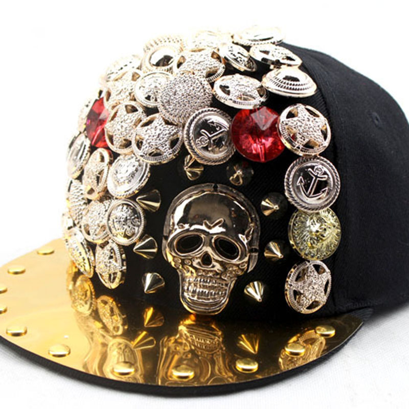 New Punk Flat Along Hip Hop Caps For Children Boy Girl Jordan Basketball Skull Pentagram Rivet Eagle Buttons Hats Cap Boy's Accessories
