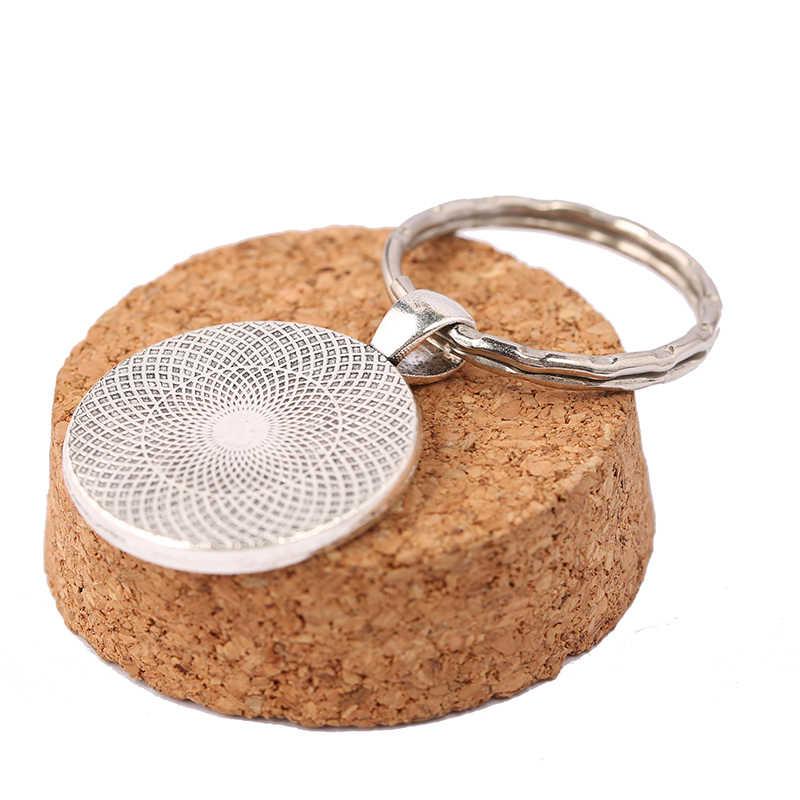 Reidgaller 5 шт. подходит 25 мм круглый кабошон брелок Настройки античный серебряный пустой брелок база Лотки diy аксессуары для ключей