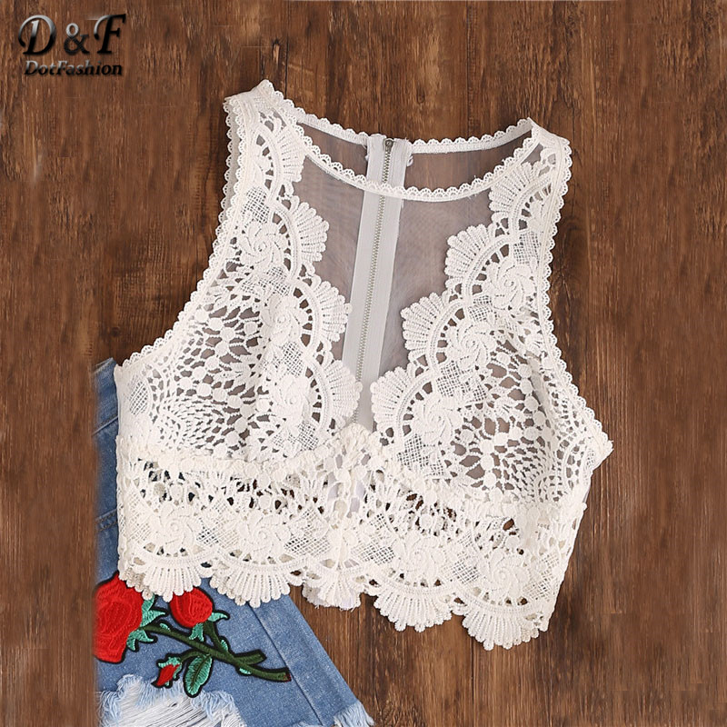 Dotfashion Woman Scallop Lace Applique Exposed Tank Top White Round Neck Zip Tulle Sexy Top 2017 Summer Sleeveless Woman Vest