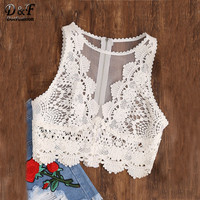 Dotfashion Woman Scallop Lace Applique Exposed Tank Top White Round Neck Zip Tulle Sexy Top 2017