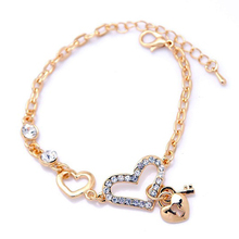Heart Shape Charm Bracelets  Jewelry for Women Fashion Chain Link Bracelet with Crystal