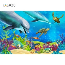Laeacco Underwater World Dolphin Carol Baby Portrait Photography Background Customized Photographic Backdrops For Photo Studio