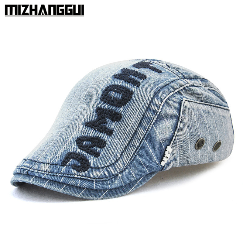ab4f8eac Fashion Jeans Hats with Visor for Men Women High Quality Casual Unisex Denim  Beret Caps Outdoors Flat Top Cap for Cowboy-in Visors from Men's Clothing  ...