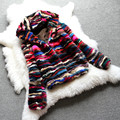 Winter Fashion Colorful Multi Genuine Mink Fur Coats Short Design Women Hooded Jacket MM-24