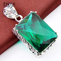 ENYA New Fashion Gift Men Jewelry 1 Pcs Vintage Silver Plated Crystal Pendants Necklaces Huge Green Gems Pendants