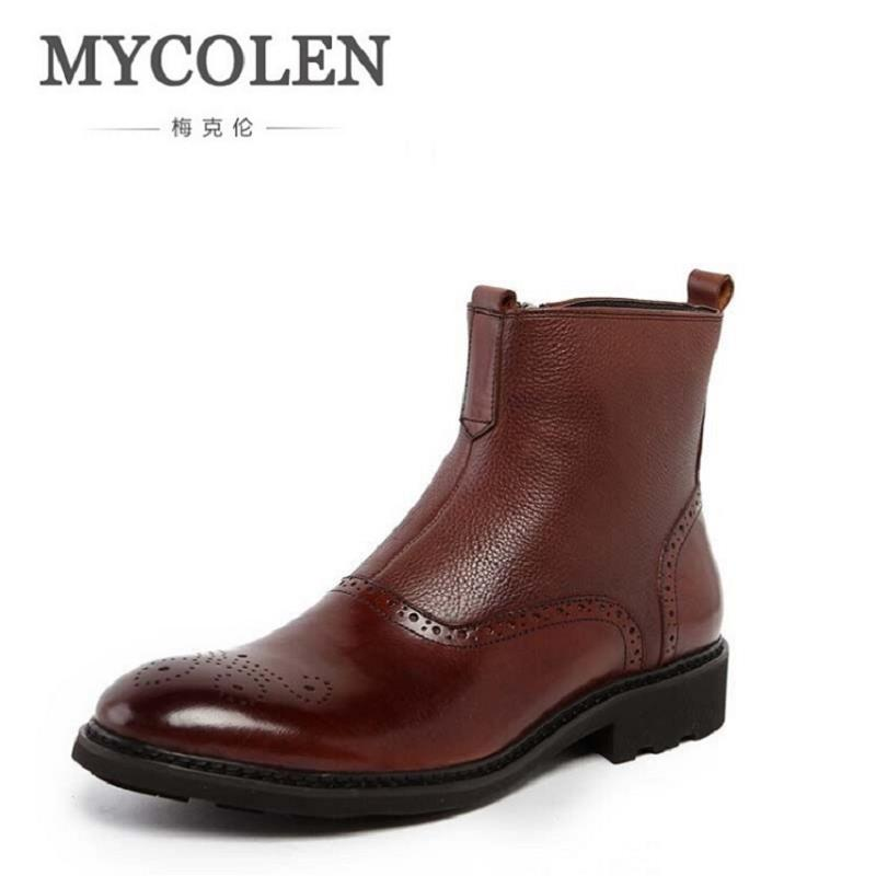 MYCOLEN Autumn Winter Chelsea Boots Men Shoes Male Business Genuine Leather Quality Slip On Ankle Boot Man Casual Brown Boots mycolen 2017 fashion winter men boots british style working safety boots casual winter men shoes male black leather ankle boots