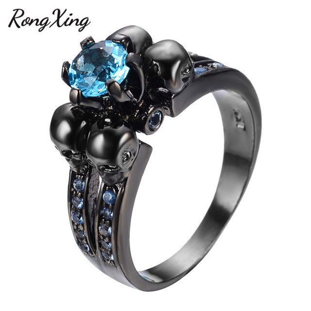 Rongxing Charming Light Blue Skull Ring Women Men Jewelry Engagement Band Black Gold Filled Wedding
