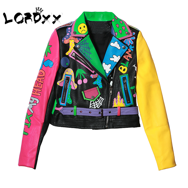 LORDXX Colorful Rainbow Jacket Women 2019 New Fashion Print Yellow Sleeve Street Short Leather Jacket Zipper Motorcycle Coat