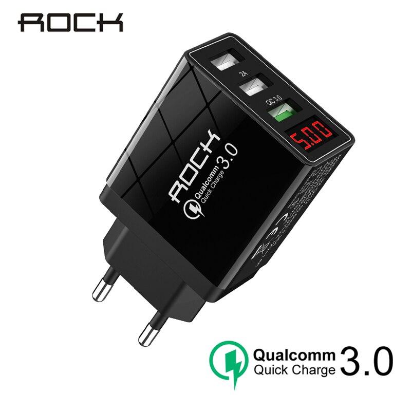 ROCK QC 3,0 30 W 3 USB Schnell Lade Telefon Ladegerät Led-anzeige Für iPhone Xiaomi Samsung Huawei 3 Ports schnelle Wand Adapter Turbo