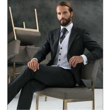 The latest men suits classic Groom tuxedos suits black lapel one button formal suits prom suits tuxedos (jacket+vest+pants)