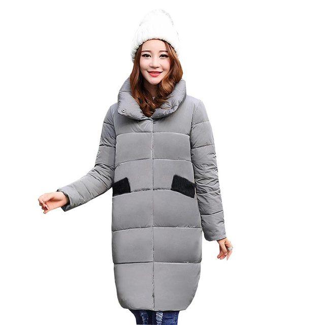 Casaco de algodão ocasional das mulheres gola de médio longo engrossar quente casaco jaqueta de inverno para baixo outerwear algodão solto casulo kp1256