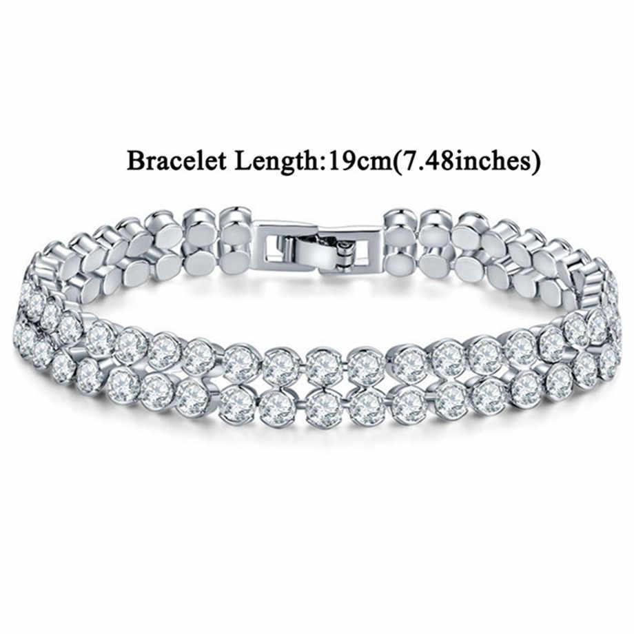 Tennis Bracelet 19cm Women's Jewelry Wholsale Braslet 2019 Female Silver Color Tennis Cubic Zirconia Charm Bracelets Bangles